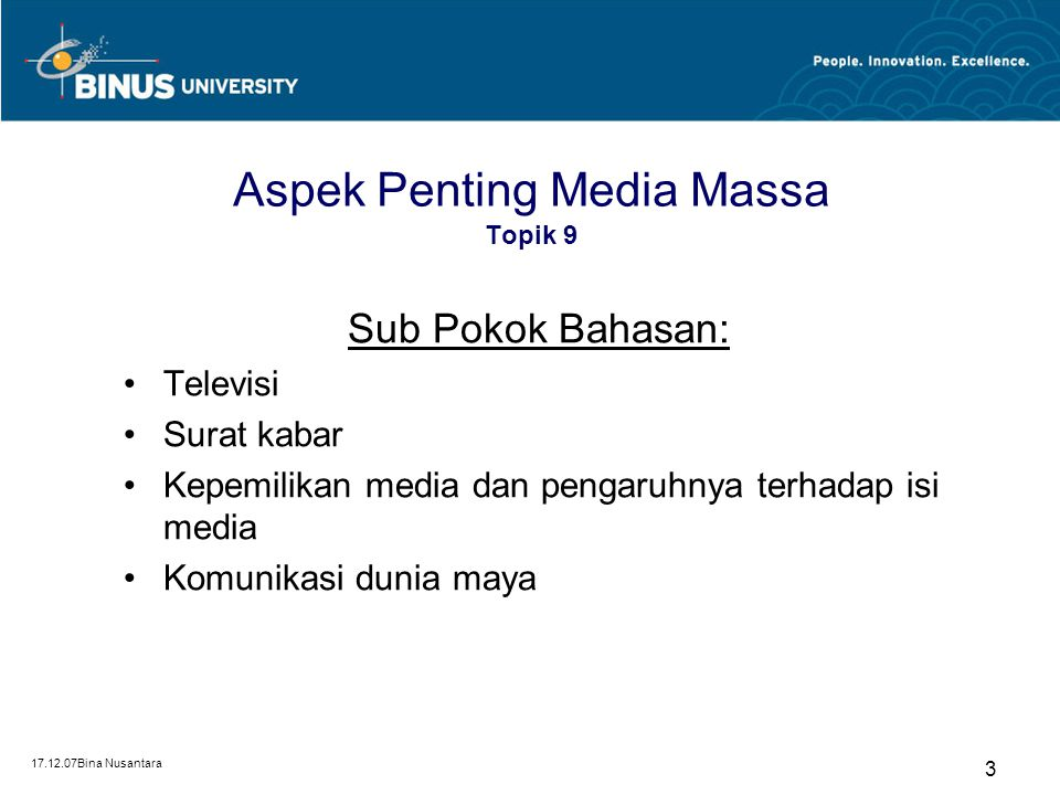Aspek Penting Media Massa Topik 9