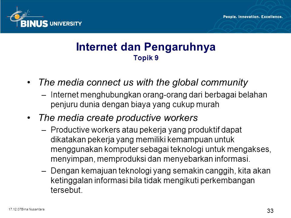 Internet dan Pengaruhnya Topik 9