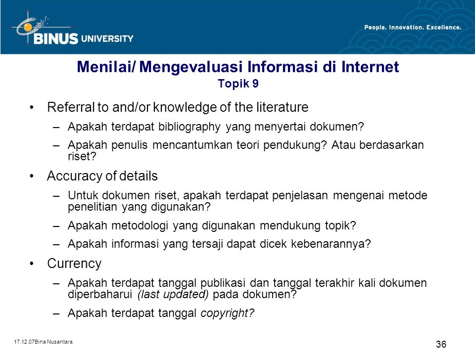 Menilai/ Mengevaluasi Informasi di Internet Topik 9