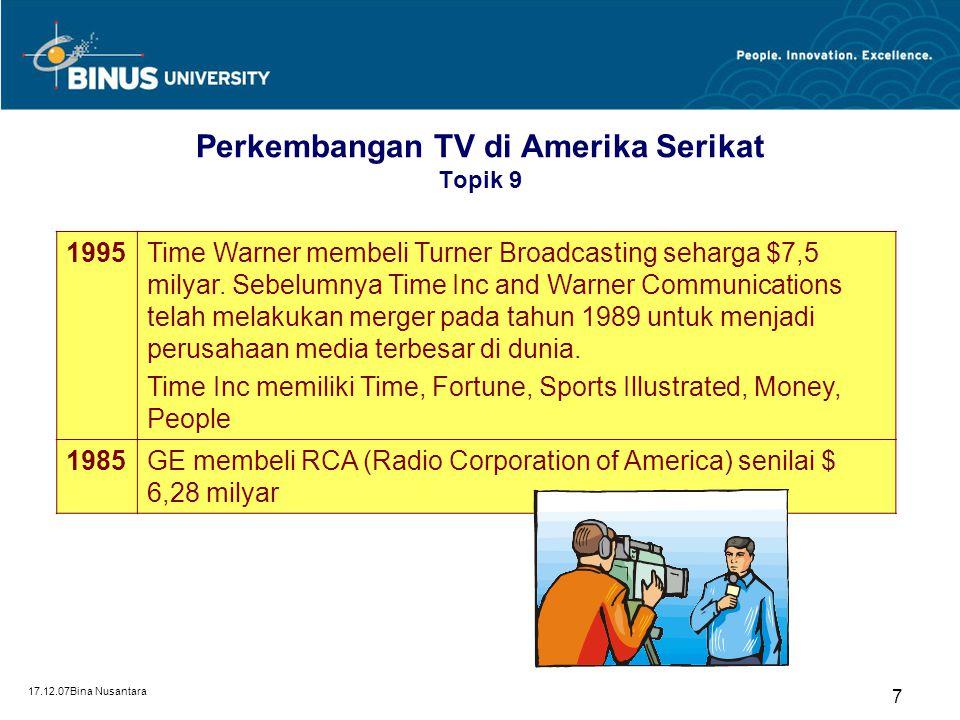 Perkembangan TV di Amerika Serikat Topik 9