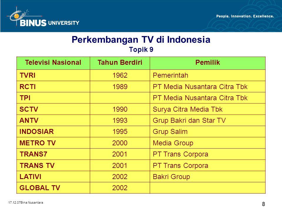 Perkembangan TV di Indonesia Topik 9
