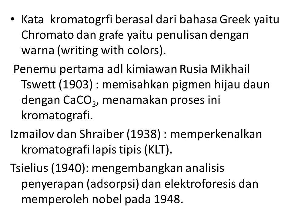 Kata kromatogrfi berasal dari bahasa Greek yaitu Chromato dan grafe yaitu penulisan dengan warna (writing with colors).