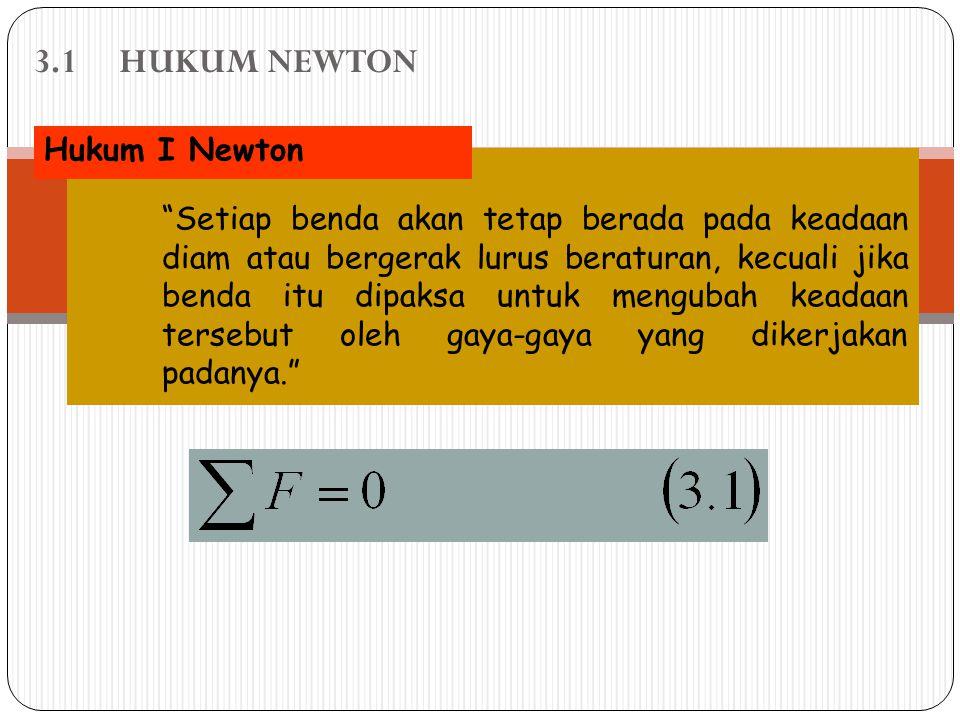 3.1 HUKUM NEWTON Hukum I Newton