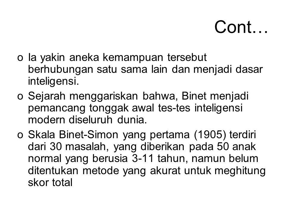 Cont… Ia yakin aneka kemampuan tersebut berhubungan satu sama lain dan menjadi dasar inteligensi.