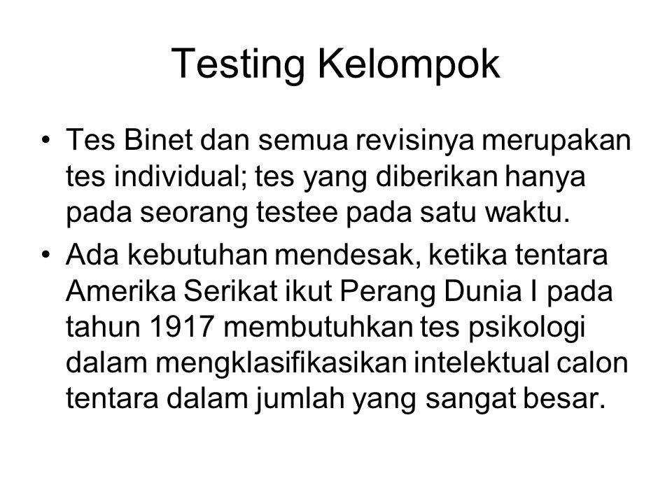 Testing Kelompok Tes Binet dan semua revisinya merupakan tes individual; tes yang diberikan hanya pada seorang testee pada satu waktu.