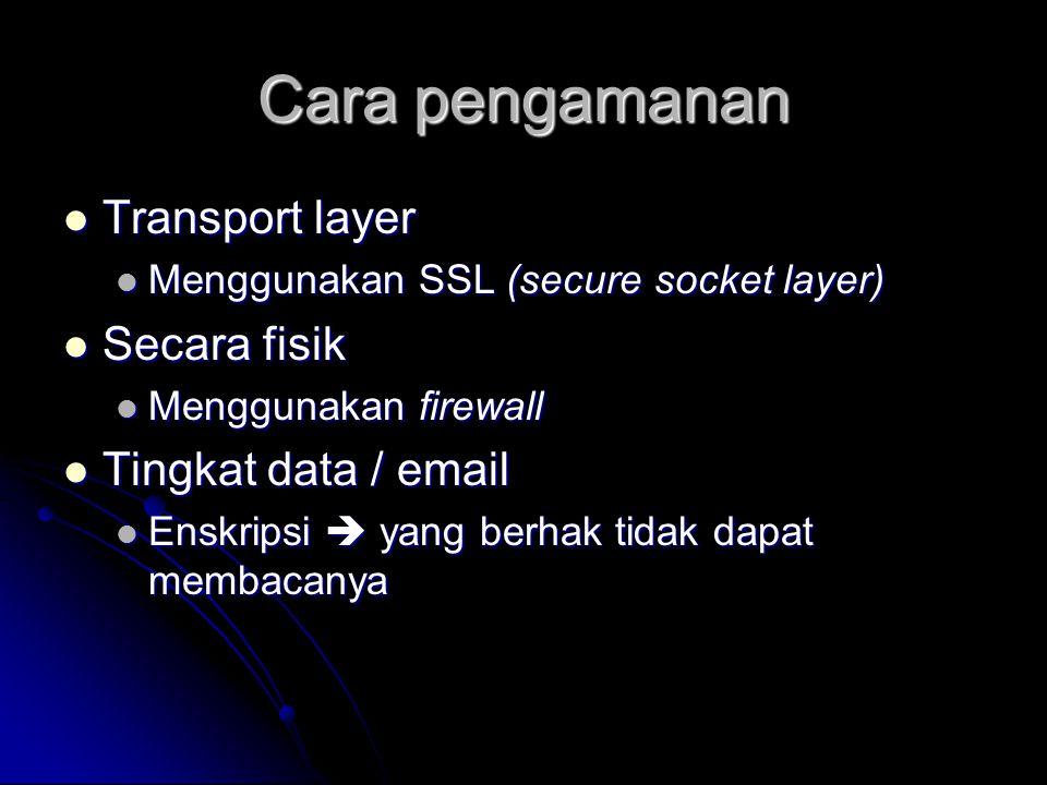 Cara pengamanan Transport layer Secara fisik Tingkat data / email