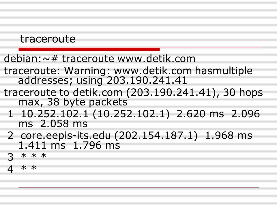 traceroute debian:~# traceroute www.detik.com