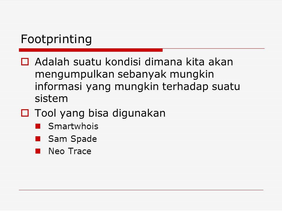 Footprinting Adalah suatu kondisi dimana kita akan mengumpulkan sebanyak mungkin informasi yang mungkin terhadap suatu sistem.