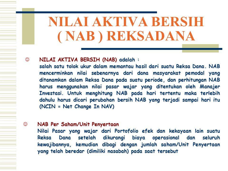 NILAI AKTIVA BERSIH ( NAB ) REKSADANA