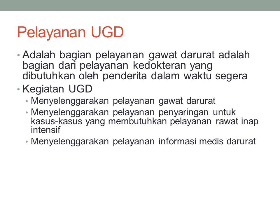 Pelayanan UGD Adalah bagian pelayanan gawat darurat adalah bagian dari pelayanan kedokteran yang dibutuhkan oleh penderita dalam waktu segera.