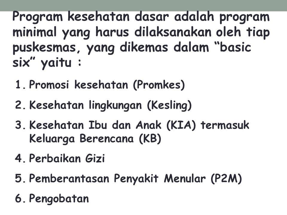 Program kesehatan dasar adalah program minimal yang harus dilaksanakan oleh tiap puskesmas, yang dikemas dalam basic six yaitu :