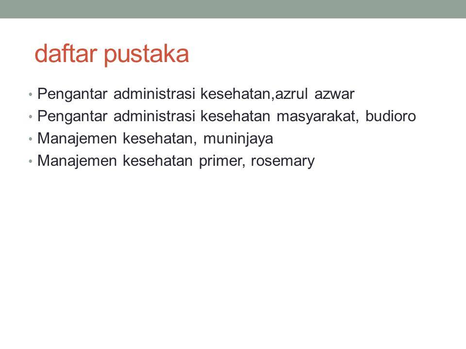 daftar pustaka Pengantar administrasi kesehatan,azrul azwar