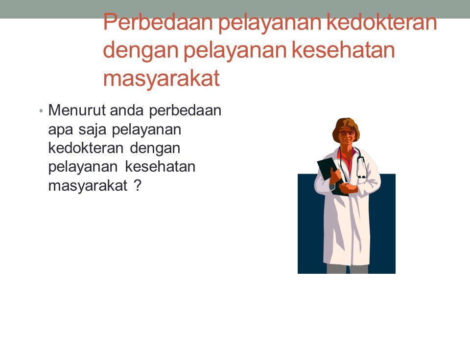 Perbedaan pelayanan kedokteran dengan pelayanan kesehatan masyarakat