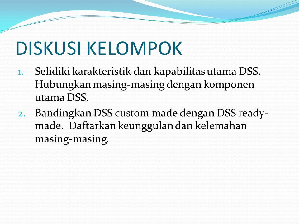 DISKUSI KELOMPOK Selidiki karakteristik dan kapabilitas utama DSS. Hubungkan masing-masing dengan komponen utama DSS.