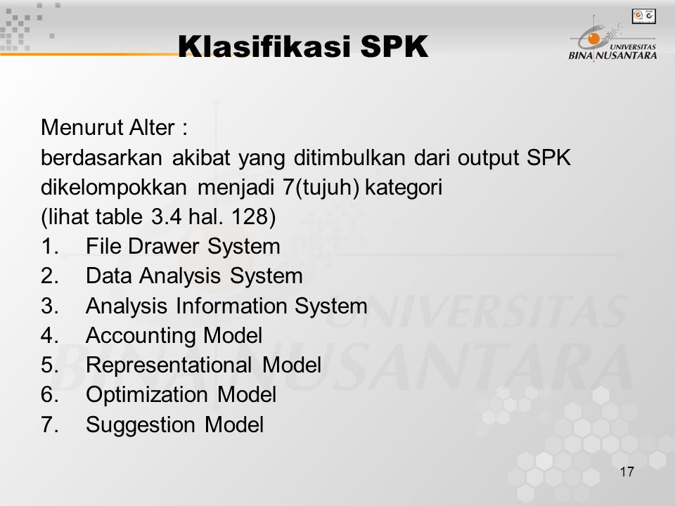 Klasifikasi SPK Menurut Alter :