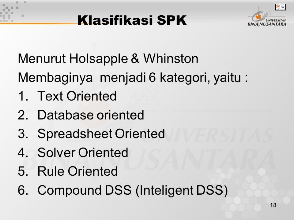 Klasifikasi SPK Menurut Holsapple & Whinston. Membaginya menjadi 6 kategori, yaitu : Text Oriented.