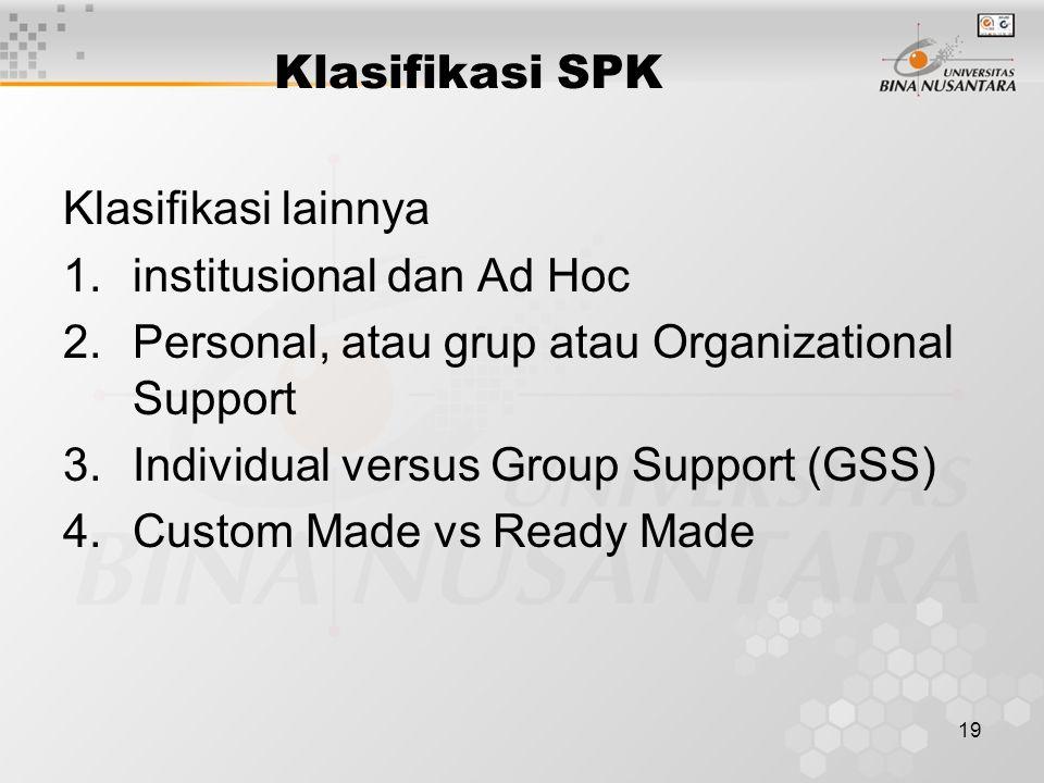 Klasifikasi SPK Klasifikasi lainnya. institusional dan Ad Hoc. Personal, atau grup atau Organizational Support.