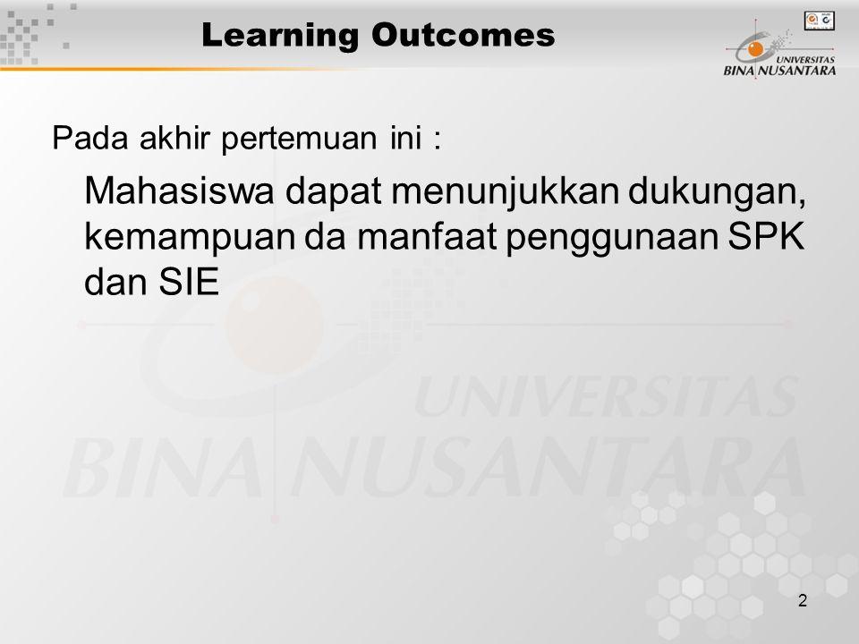 Learning Outcomes Pada akhir pertemuan ini : Mahasiswa dapat menunjukkan dukungan, kemampuan da manfaat penggunaan SPK dan SIE.