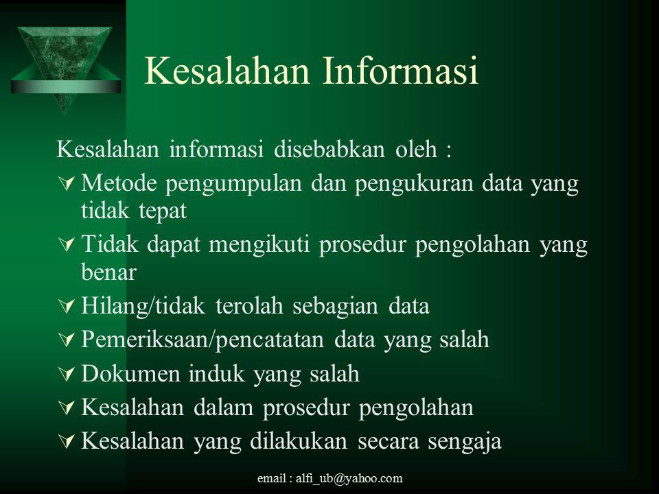 Kesalahan Informasi Kesalahan informasi disebabkan oleh :