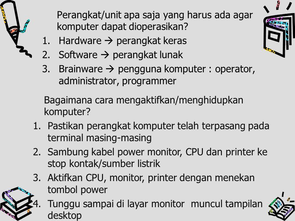 Perangkat/unit apa saja yang harus ada agar komputer dapat dioperasikan