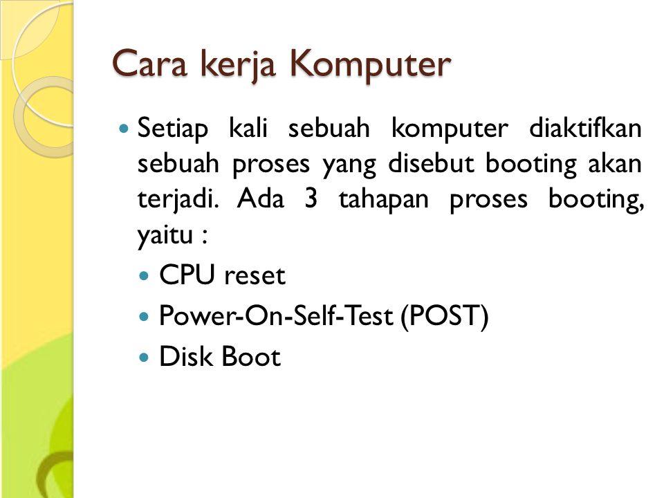 Cara kerja Komputer Setiap kali sebuah komputer diaktifkan sebuah proses yang disebut booting akan terjadi. Ada 3 tahapan proses booting, yaitu :