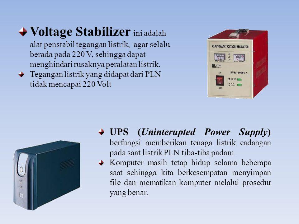 Voltage Stabilizer ini adalah alat penstabil tegangan listrik, agar selalu berada pada 220 V, sehingga dapat menghindari rusaknya peralatan listrik.