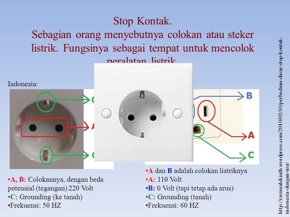 Stop Kontak. Sebagian orang menyebutnya colokan atau steker listrik. Fungsinya sebagai tempat untuk mencolok peralatan listrik.