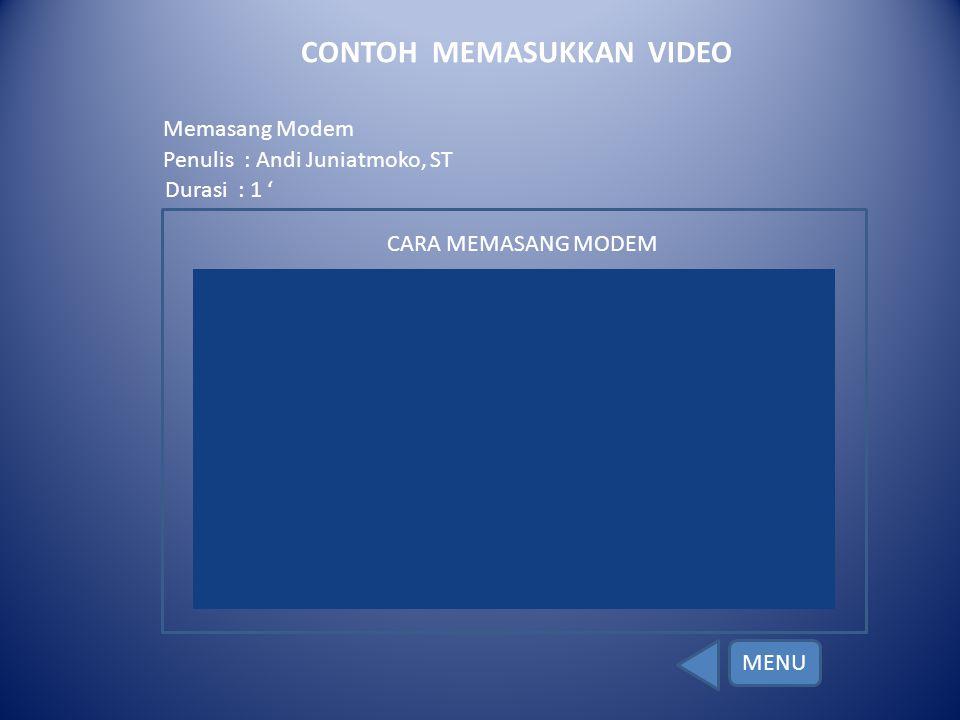 CONTOH MEMASUKKAN VIDEO
