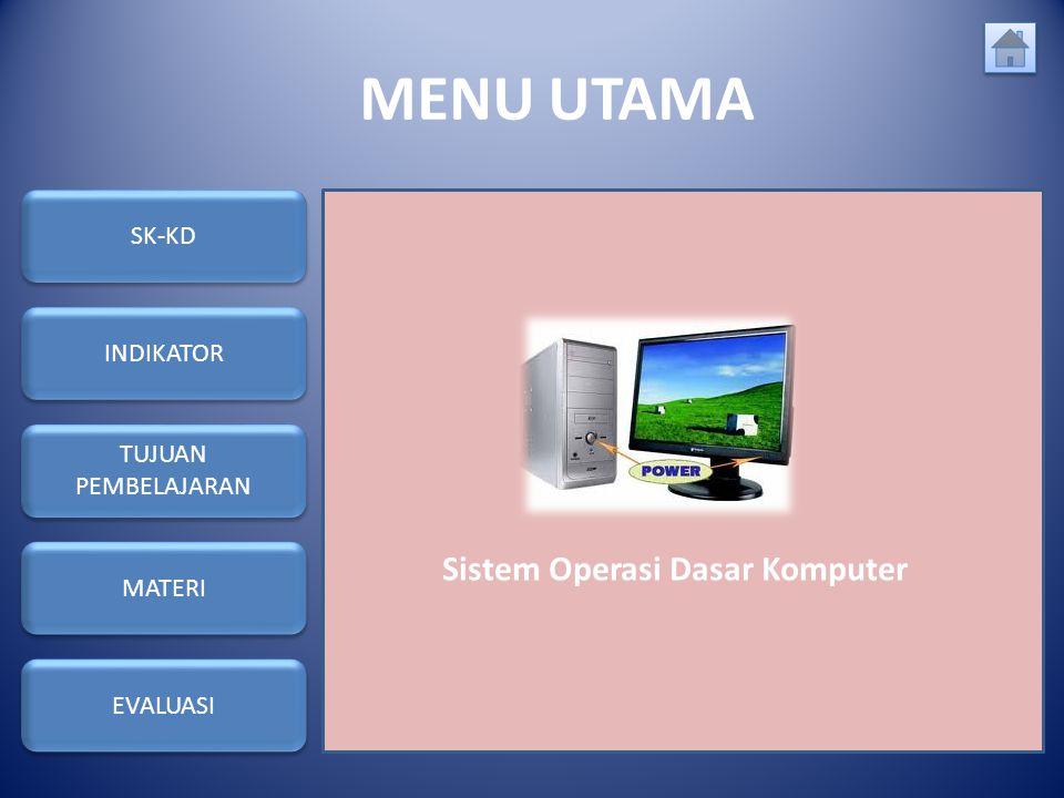 MENU UTAMA Sistem Operasi Dasar Komputer