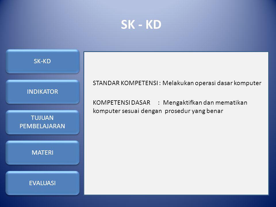 SK - KD STANDAR KOMPETENSI : Melakukan operasi dasar komputer