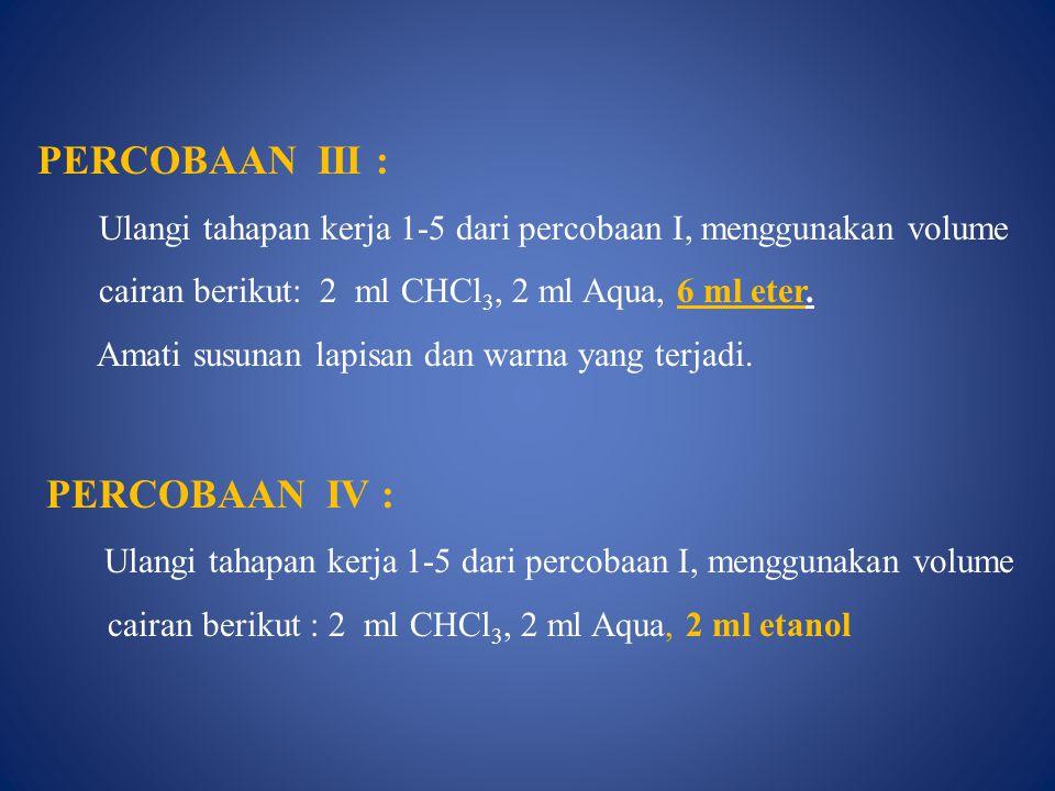 PERCOBAAN III : PERCOBAAN IV :