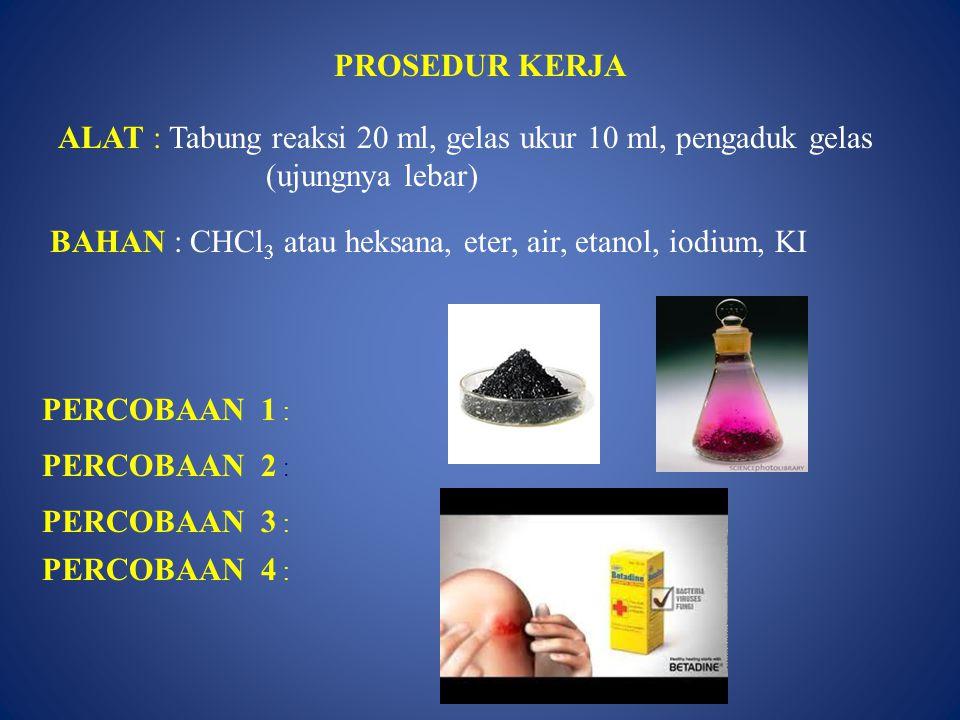 PROSEDUR KERJA ALAT : Tabung reaksi 20 ml, gelas ukur 10 ml, pengaduk gelas (ujungnya lebar)