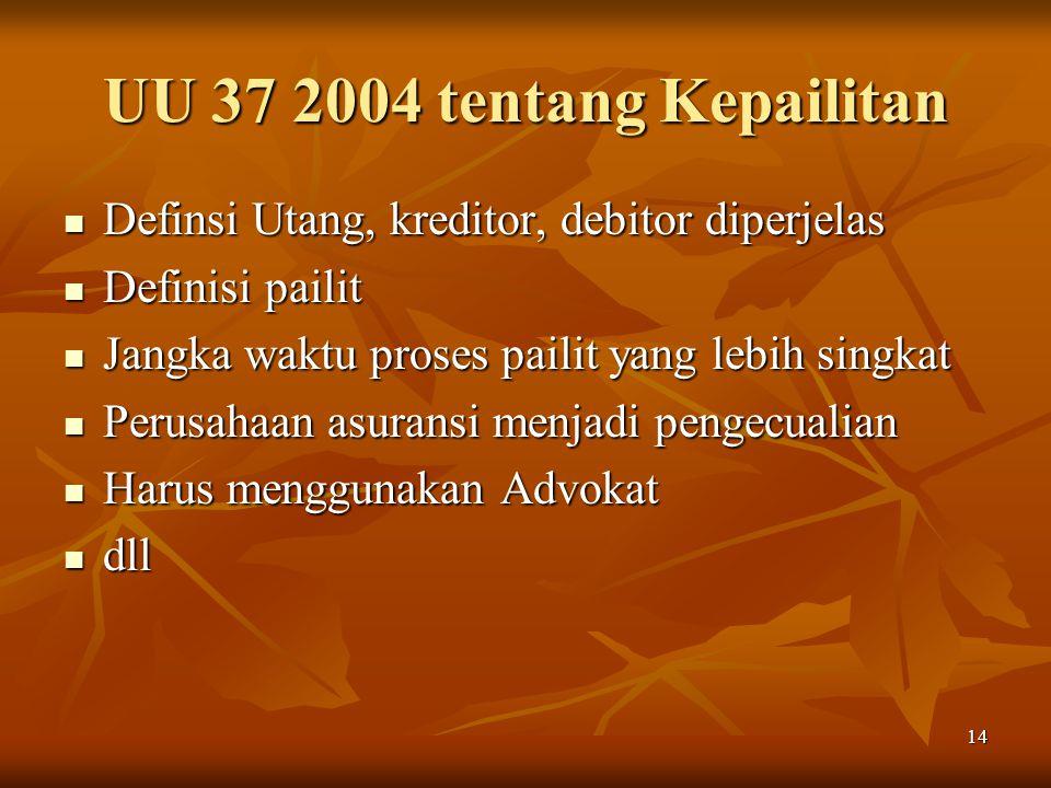 UU 37 2004 tentang Kepailitan Definsi Utang, kreditor, debitor diperjelas. Definisi pailit. Jangka waktu proses pailit yang lebih singkat.