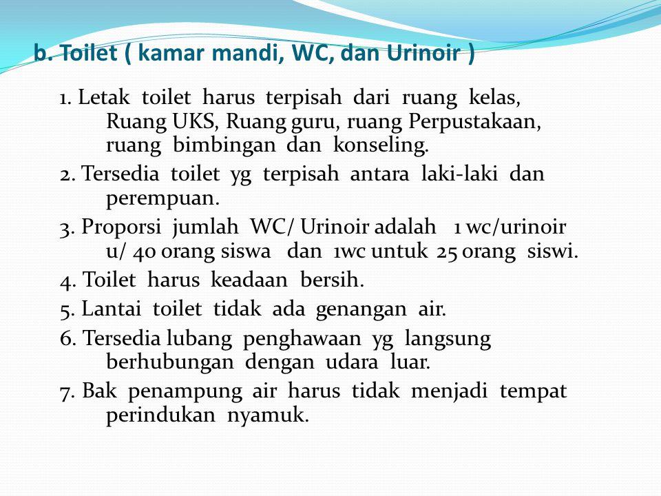 b. Toilet ( kamar mandi, WC, dan Urinoir )