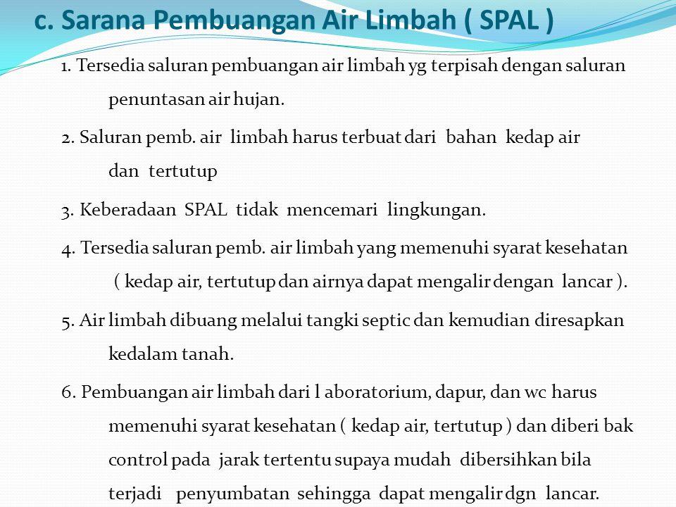 c. Sarana Pembuangan Air Limbah ( SPAL )