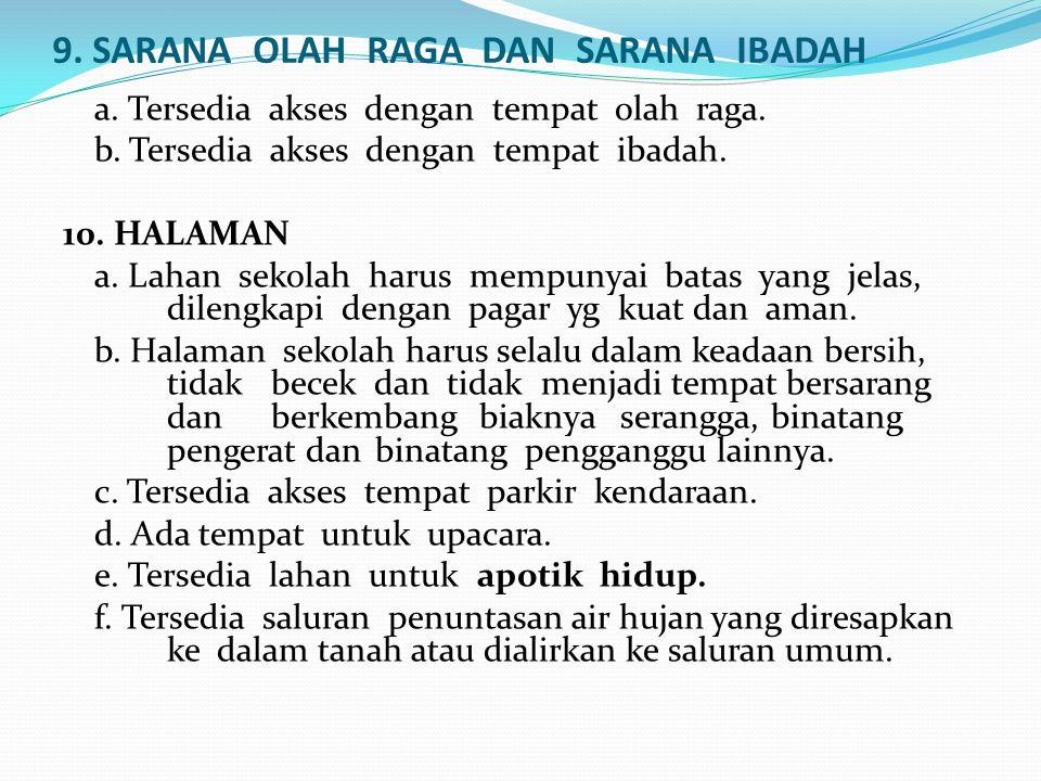 9. SARANA OLAH RAGA DAN SARANA IBADAH