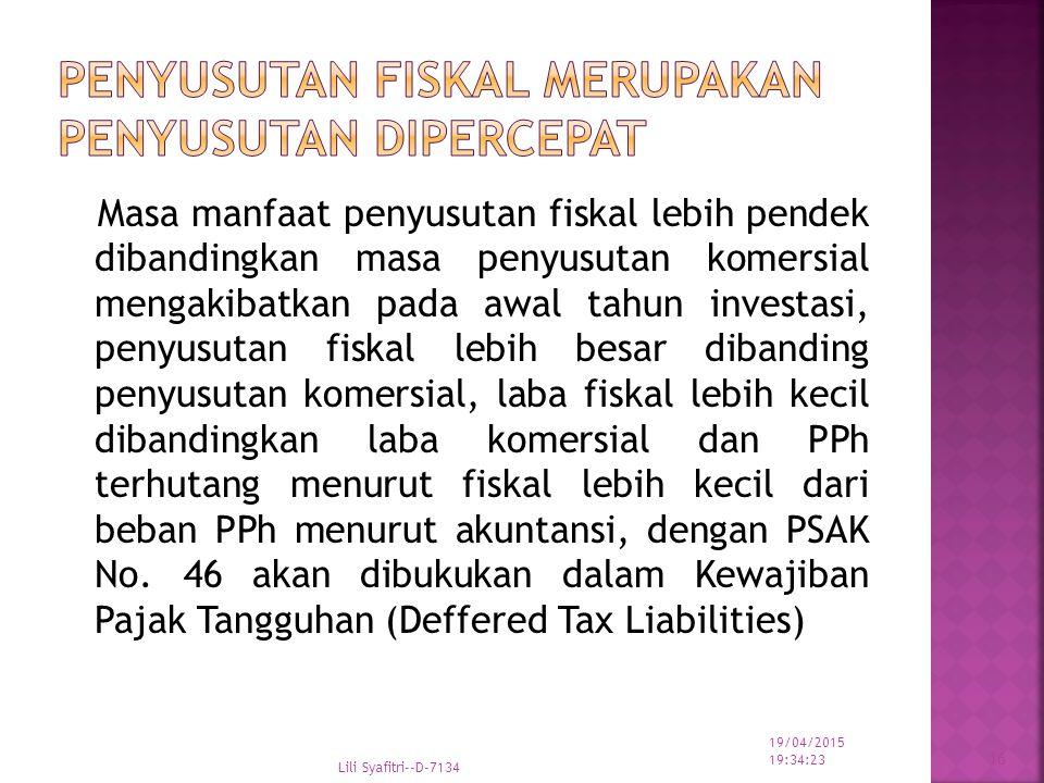 Penyusutan Fiskal merupakan Penyusutan Dipercepat