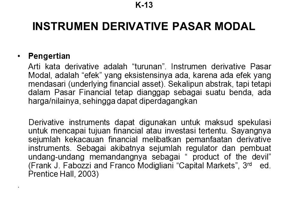 K-13 INSTRUMEN DERIVATIVE PASAR MODAL