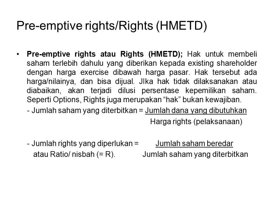 Pre-emptive rights/Rights (HMETD)