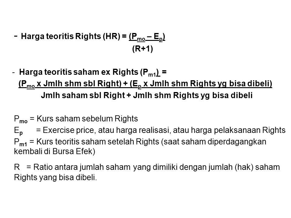- Harga teoritis Rights (HR) = (Pmo – Ep)