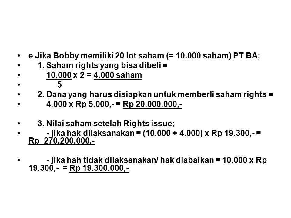 e Jika Bobby memiliki 20 lot saham (= 10.000 saham) PT BA;