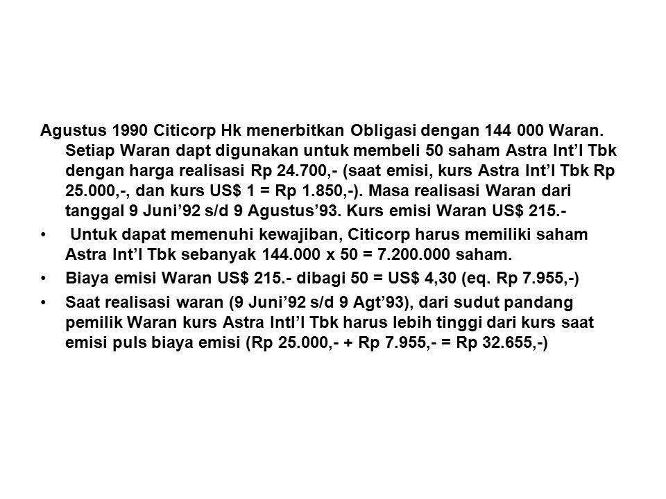 Agustus 1990 Citicorp Hk menerbitkan Obligasi dengan 144 000 Waran