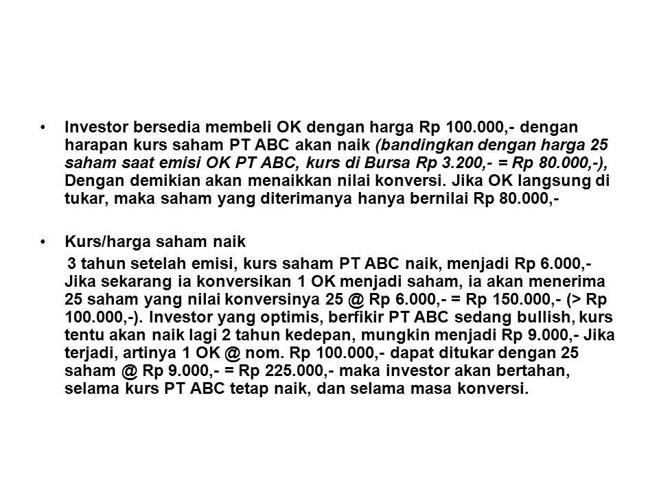 Investor bersedia membeli OK dengan harga Rp 100