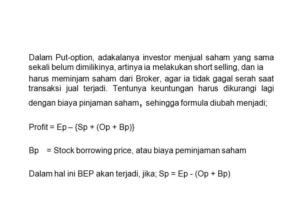 Dalam Put-option, adakalanya investor menjual saham yang sama sekali belum dimilikinya, artinya ia melakukan short selling, dan ia