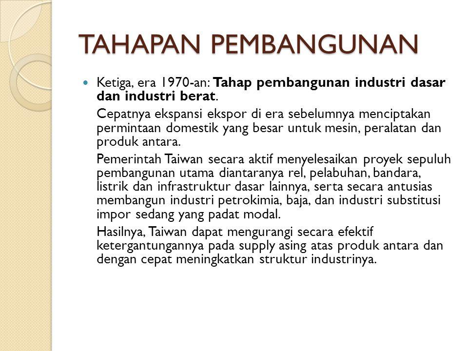 TAHAPAN PEMBANGUNAN Ketiga, era 1970-an: Tahap pembangunan industri dasar dan industri berat.