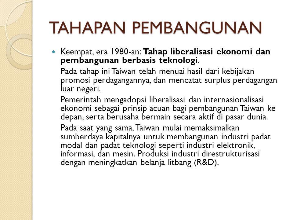 TAHAPAN PEMBANGUNAN Keempat, era 1980-an: Tahap liberalisasi ekonomi dan pembangunan berbasis teknologi.