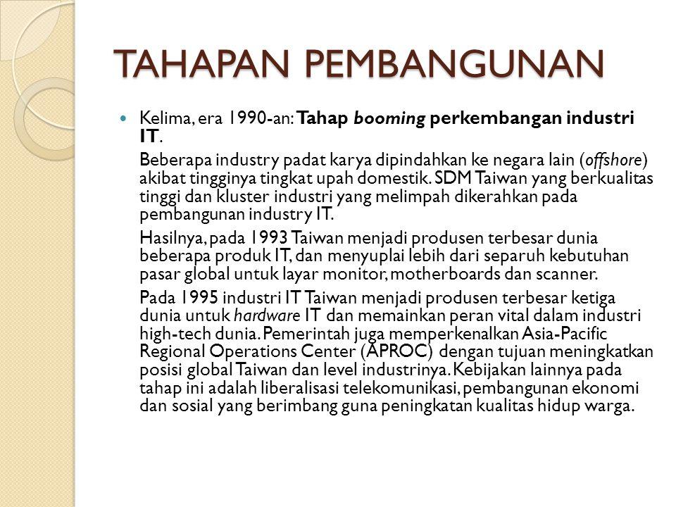 TAHAPAN PEMBANGUNAN Kelima, era 1990-an: Tahap booming perkembangan industri IT.