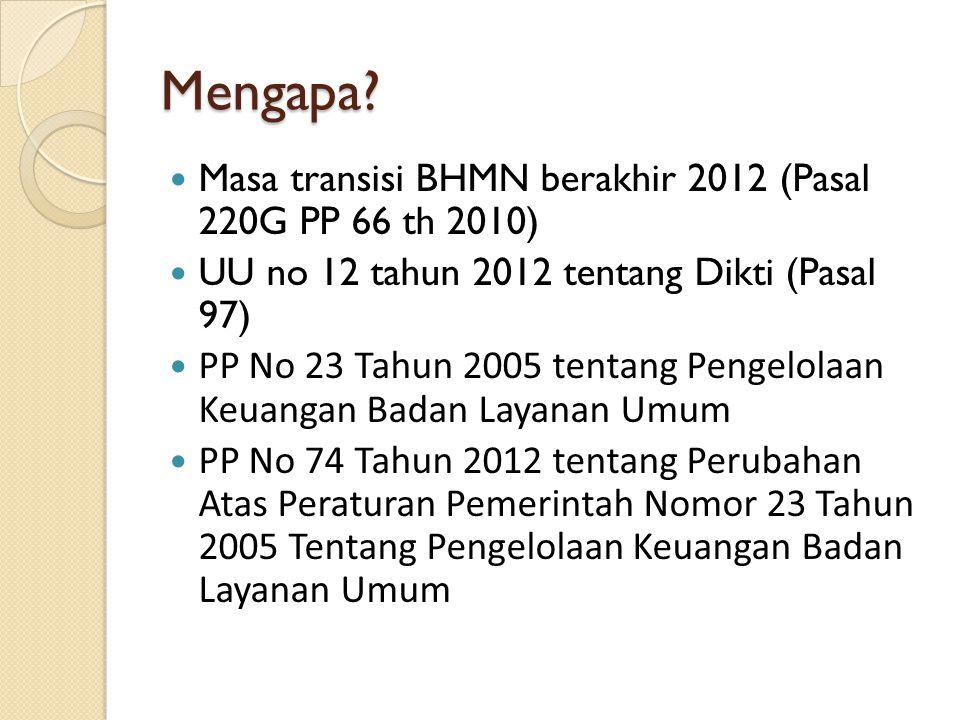 Mengapa Masa transisi BHMN berakhir 2012 (Pasal 220G PP 66 th 2010)