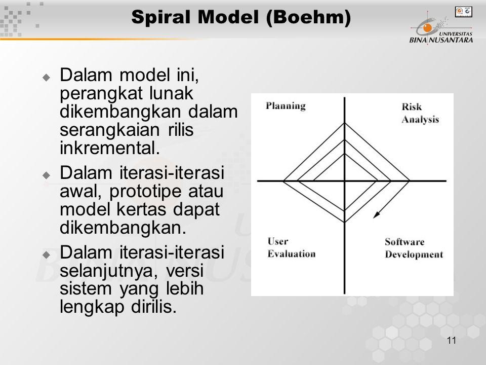 Spiral Model (Boehm) Dalam model ini, perangkat lunak dikembangkan dalam serangkaian rilis inkremental.