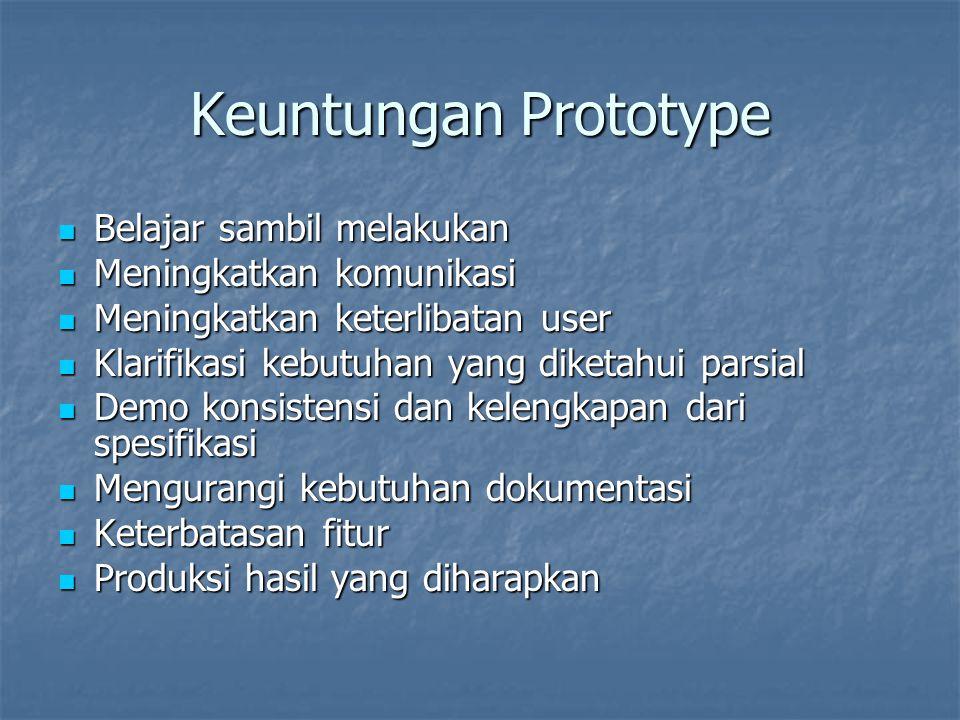 Keuntungan Prototype Belajar sambil melakukan Meningkatkan komunikasi